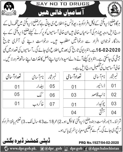 Jobs In Local Department Of Dera Bugti Govt of Balochistan 06 February 2020