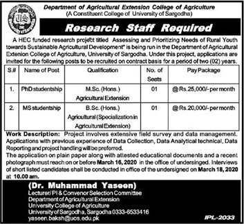 Research Staff Required In Department Of Agriculture Extension College Of Agriculture 26 February 2020
