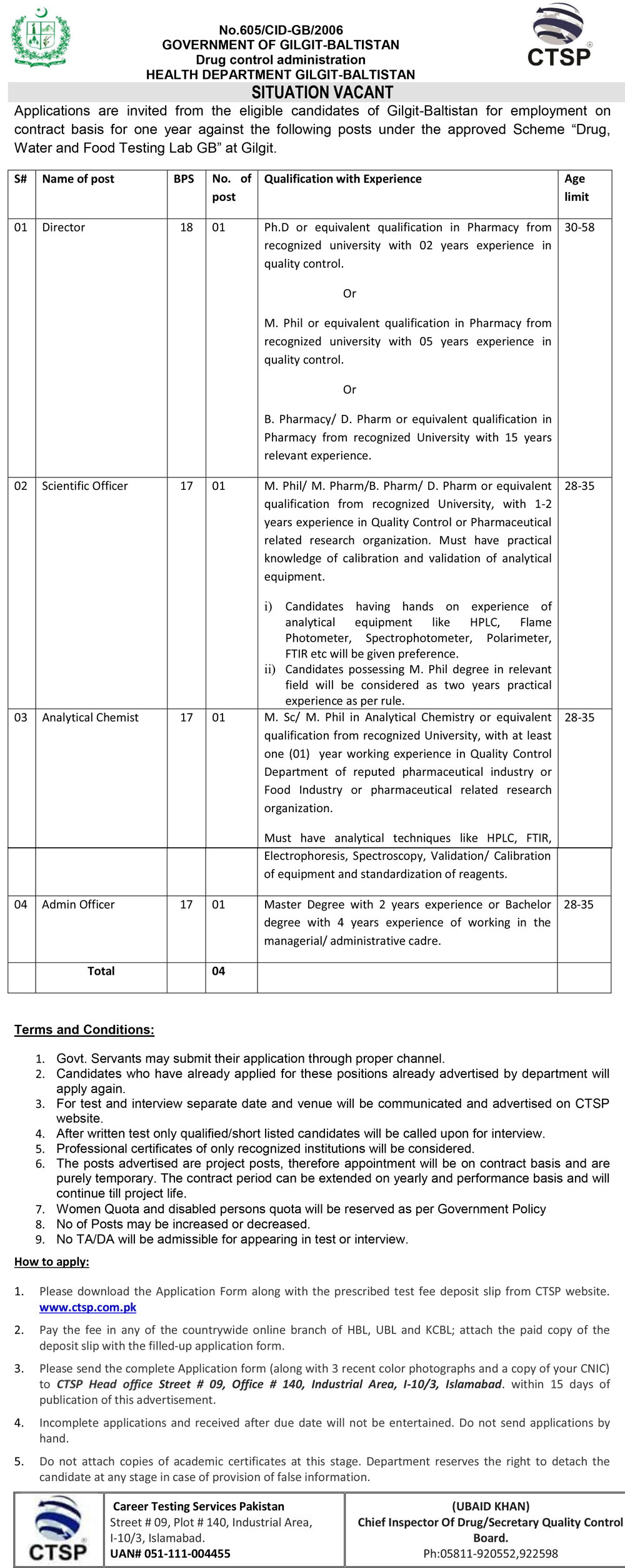 Jobs In Health Department Govt Of Gilgit Baltistatn 30 March 2020