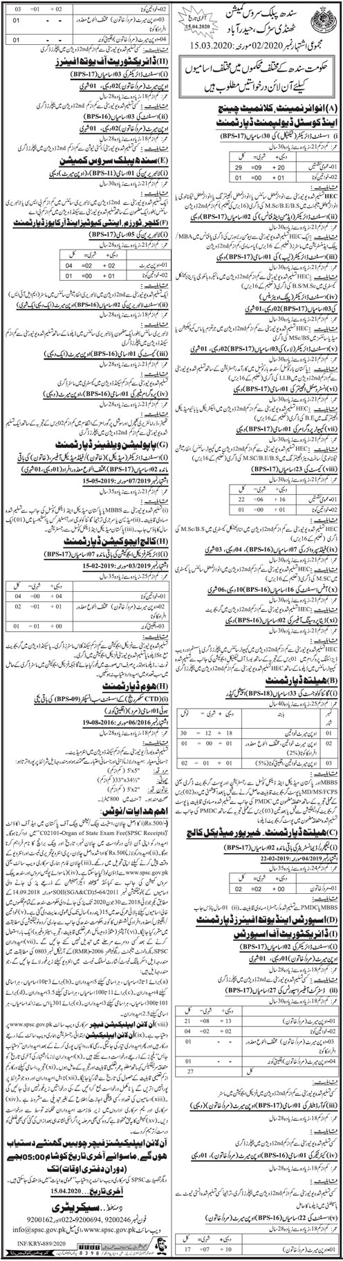 Jobs Announced In Sindh Public Service Commission (SPSC) 16 March 2020