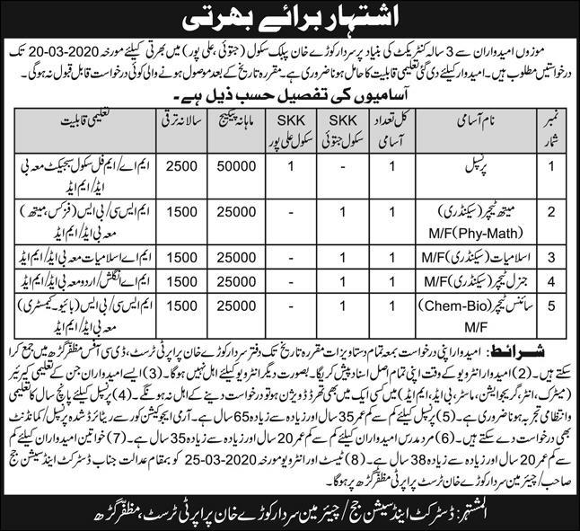 Jobs In Sardar Kaury Khan Public School Jatoi Ali Pur 05 March 2020
