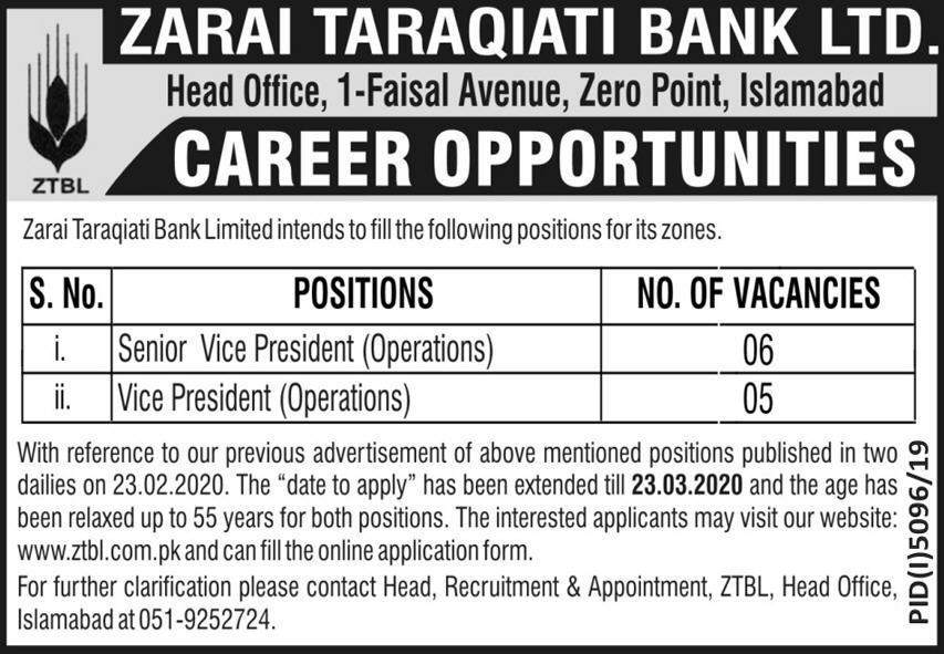 Jobs In Zarai Taraqiati Bank Limited 09 March 2020