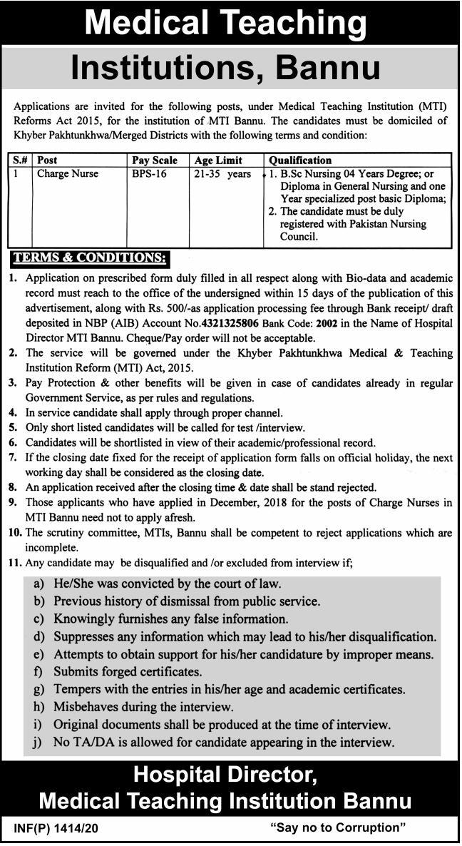 Charge Nurse Required In Medical Teaching Institutions MTI Bannu 24 April 2020