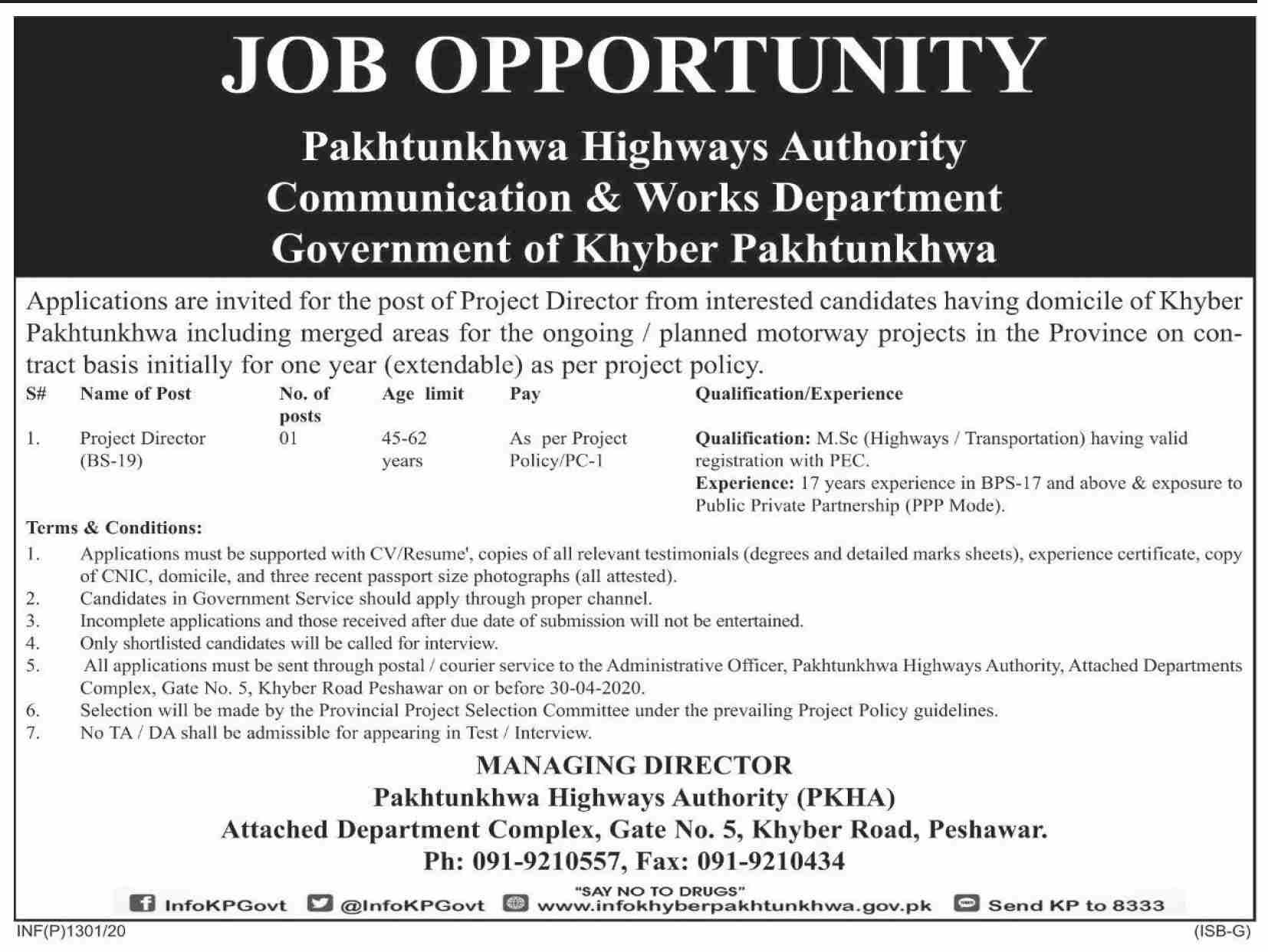 Jobs In Pakhtunkhwa Highway Authority C&W Department Government of KPK 08 April 2020