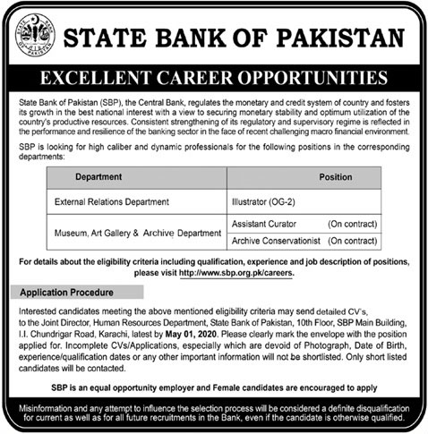Jobs In State Bank of Pakistan 19 April 2020