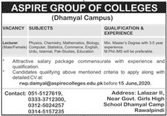 Lecturer Required In Aspire Group Of Colleges 31 May 2020