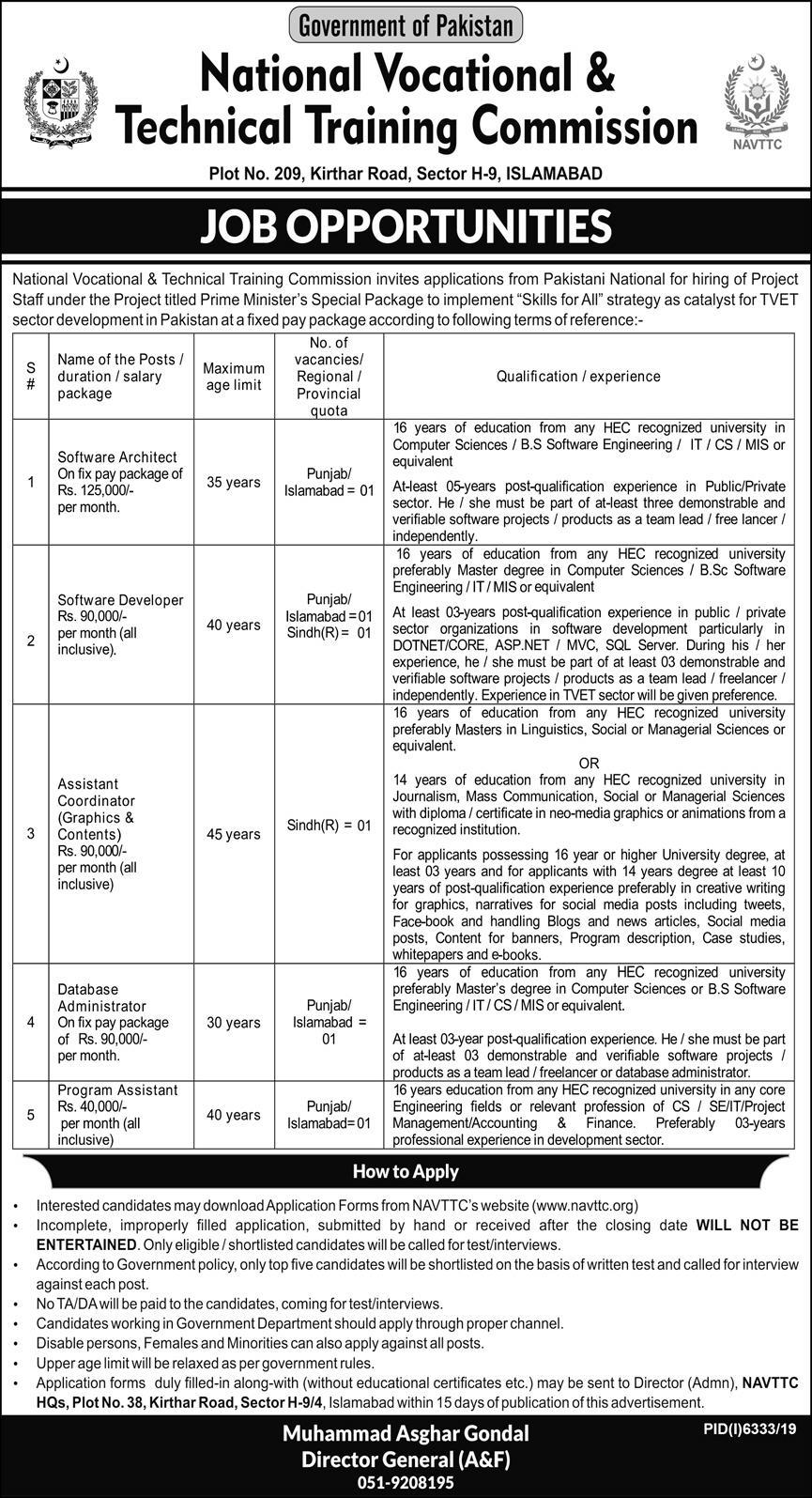Jobs In National Vocational And Technical Training Commission NAVTTC 24 May 2020