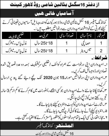 Jobs In Office Of Commanding Officer 16 Signal Battalion Lahore 30 May 2020
