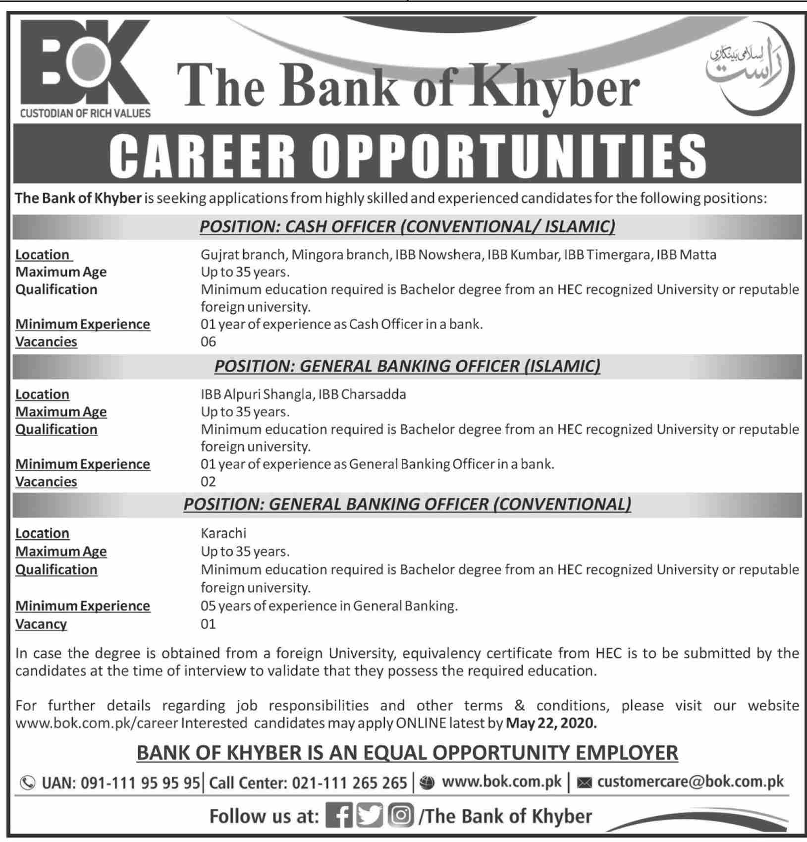 Jobs In The Bank of Khyber 16 May 2020