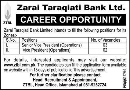 Jobs In Zarai Taraqiati Bank Limited 04 May 2020