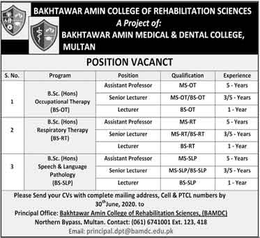 Jobs In Bakhtawar Amin College Of Rehabilitation Science