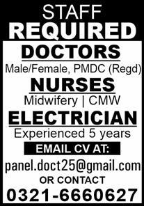 Hospital Staff Required In Lahore 24 June 2020