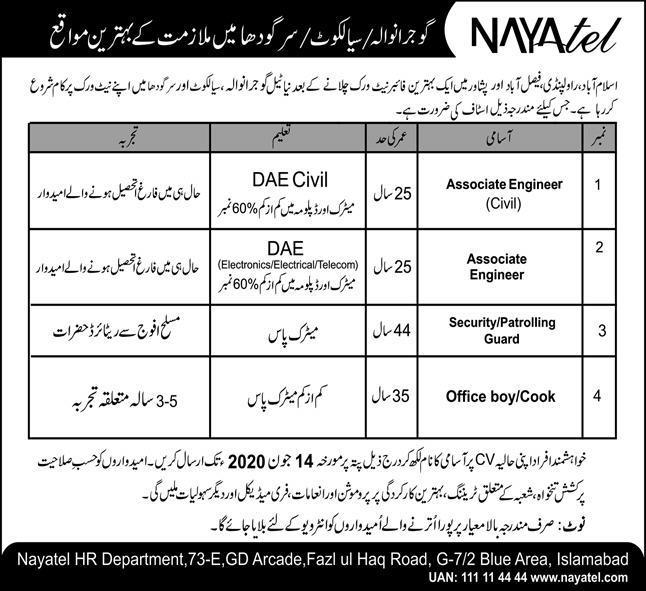 Jobs In Naya Tel Fiber Network Islamabad 01 June 2020