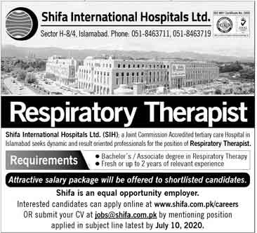 Jobs In Shifa International Hospital Limited 21 June 2020 are announced and 1 new vacancies are posted on June 21, 2020. Positions are available for the posts of Therapist.