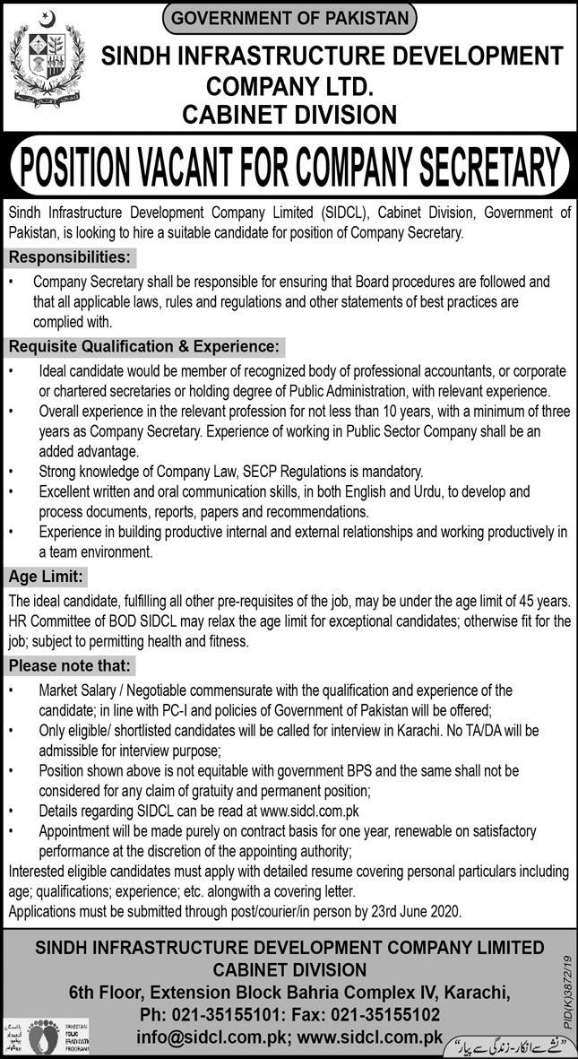 Jobs In Sindh Infrastructure Development Company Ltd 02 June 2020