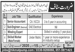 Staff Required In A Electric Motor Manufacturing Factory 07 June 2020