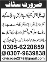 Staff Required In A Multinational Company Peshawar 01 June 2020