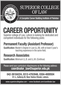 Jobs In Superior College of Law 01 June 2020
