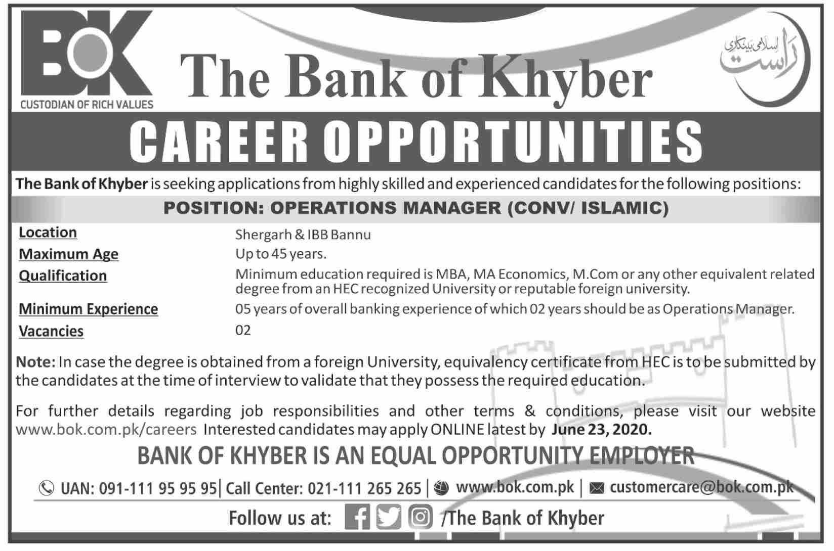 Jobs In The Bank of Khyber BOK 09 June 2020