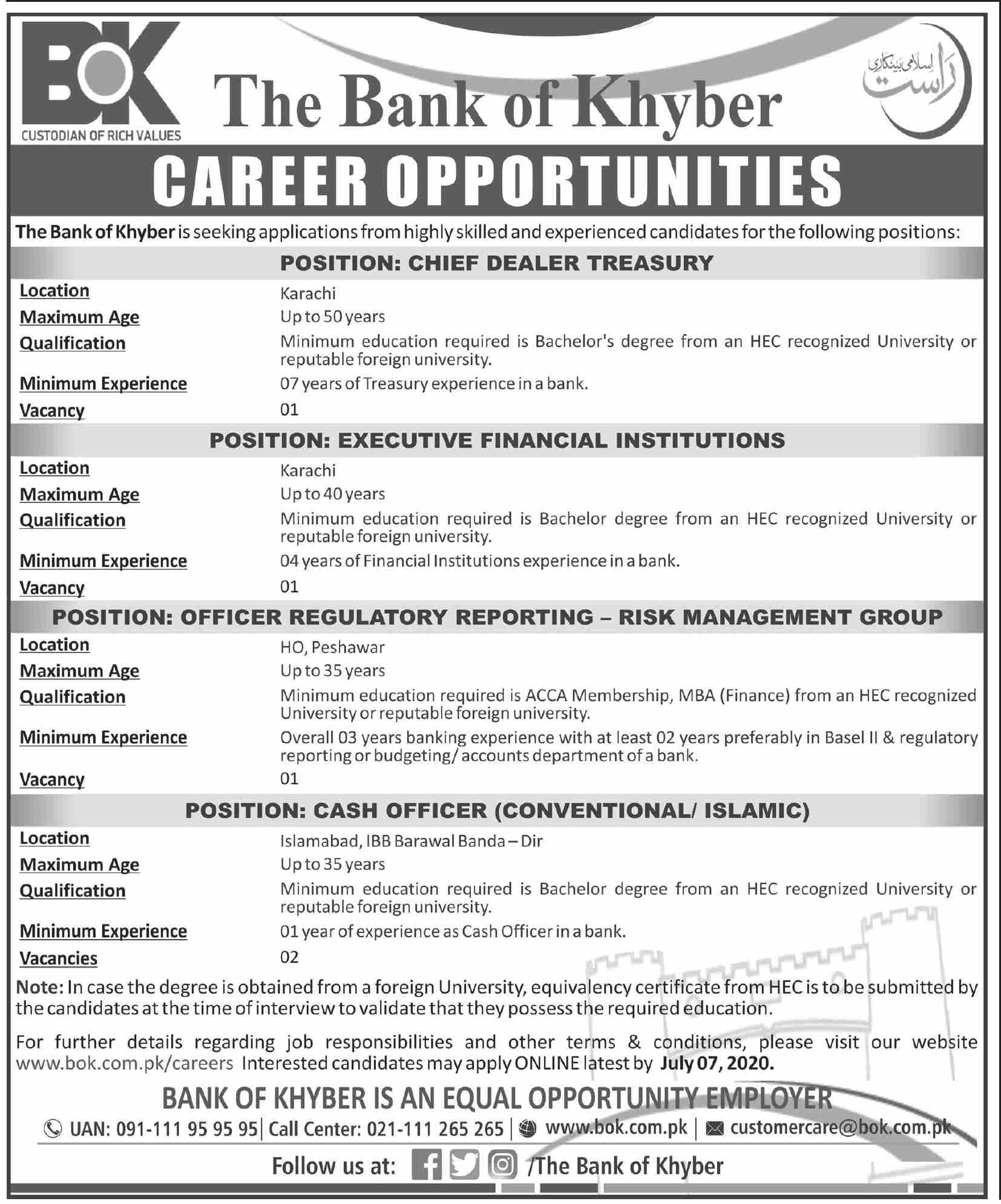 Jobs In The Bank of Khyber BOK 23 June 2020