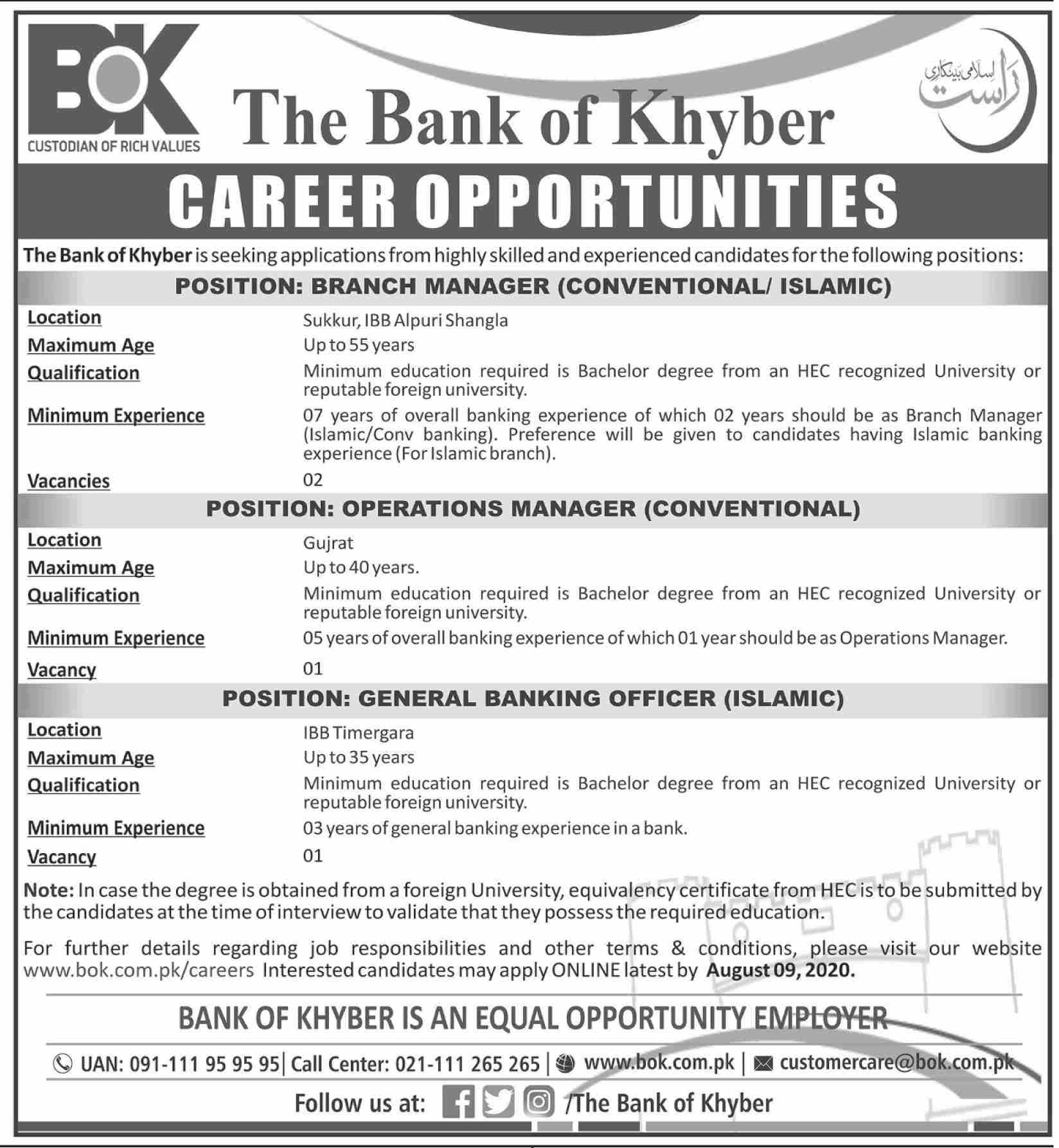 Branch Manager (Conventional/ Islamic) The Bank of Khyber Jobs July 26, 2020