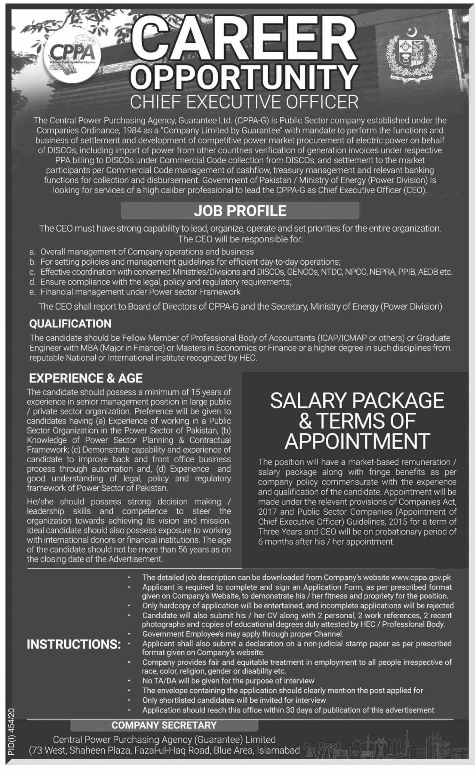 Chief Executive Officer Central Power Purchasing Agency (CPPA) Jobs July 26, 2020