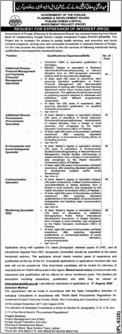 Communication Specialist Punjab Social Protection Authority July 30, 2020