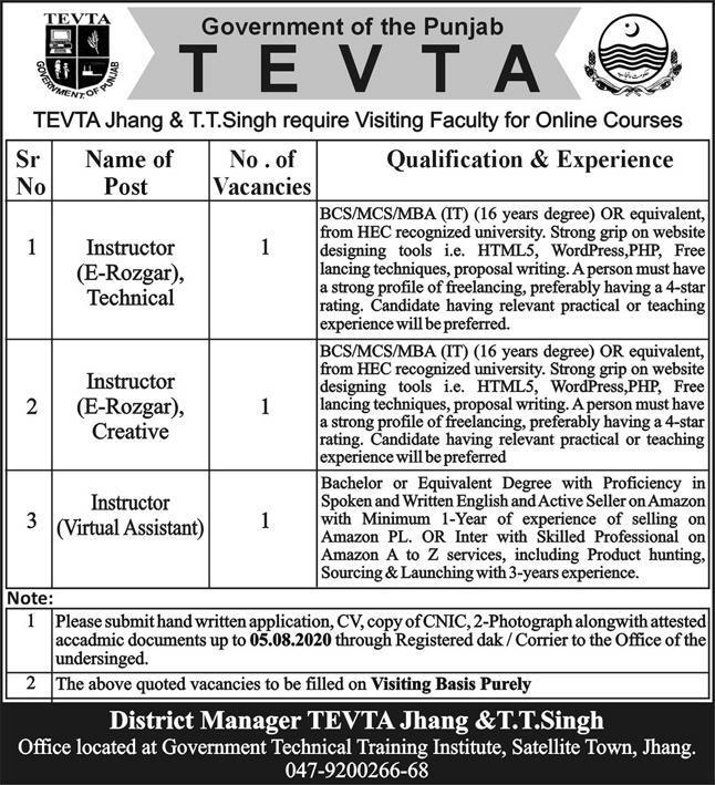 Instructor (Virtual Assistant) TEVTA Jhang July 30, 2020