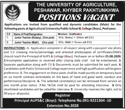 Jobs in Agriculture University Peshawar AUP 31 July 2020 for Teachers