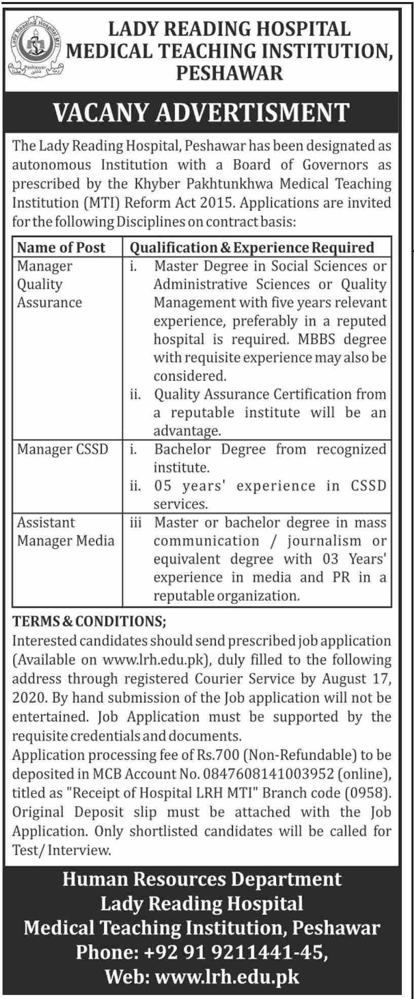 Manager Quality Assurance Lady Reading Hospital Medical Teaching Institution Peshawar Jobs July 28, 2020