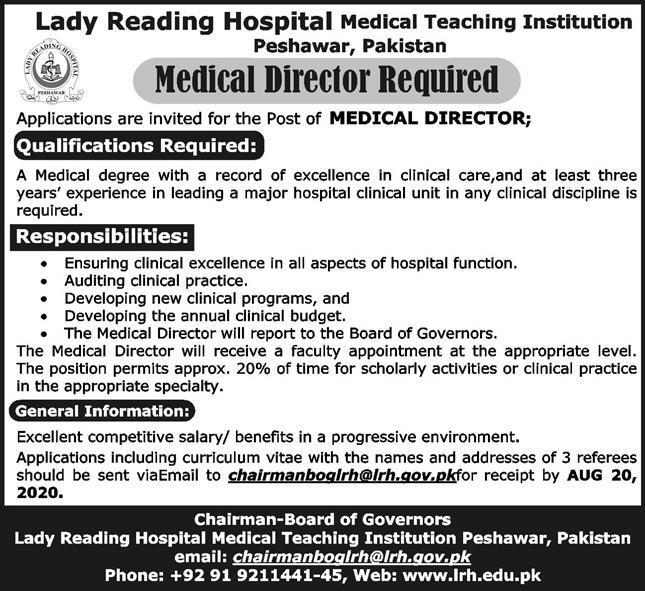 Medical Director Lady Reading Hospital Medical Teaching Hospital Peshawar July 29, 2020