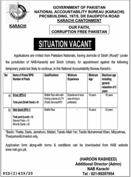 Naib Qasid National Accountability Bureau (NAB) Karachi Jobs July 28, 2020