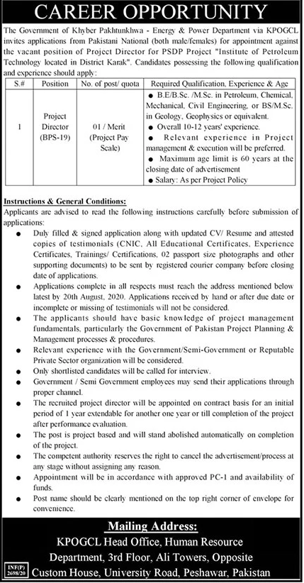 Project Director (BPS-19) Khyber Pakhtunkhwa Oil and Gas Company Limited July 30, 2020