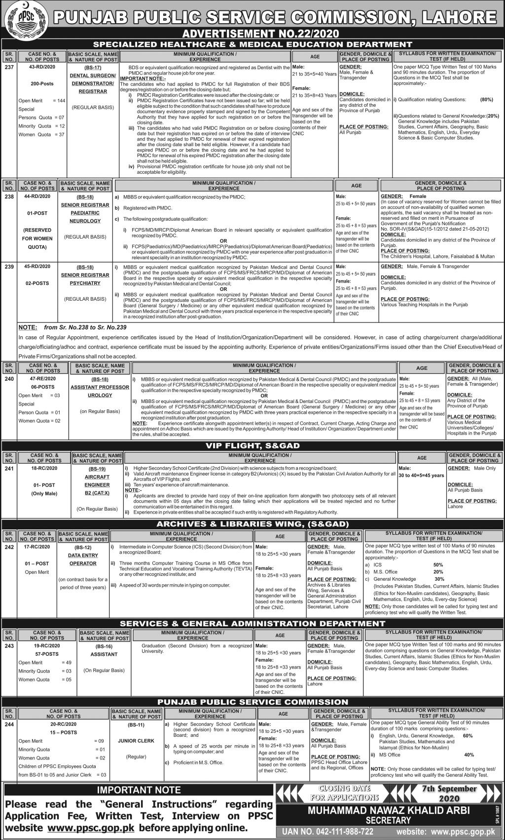 Assistant Professor PPSC Advertisement No. 22/2020 Specialized Healthcare & Medical Education Department Jobs August 22, 2020