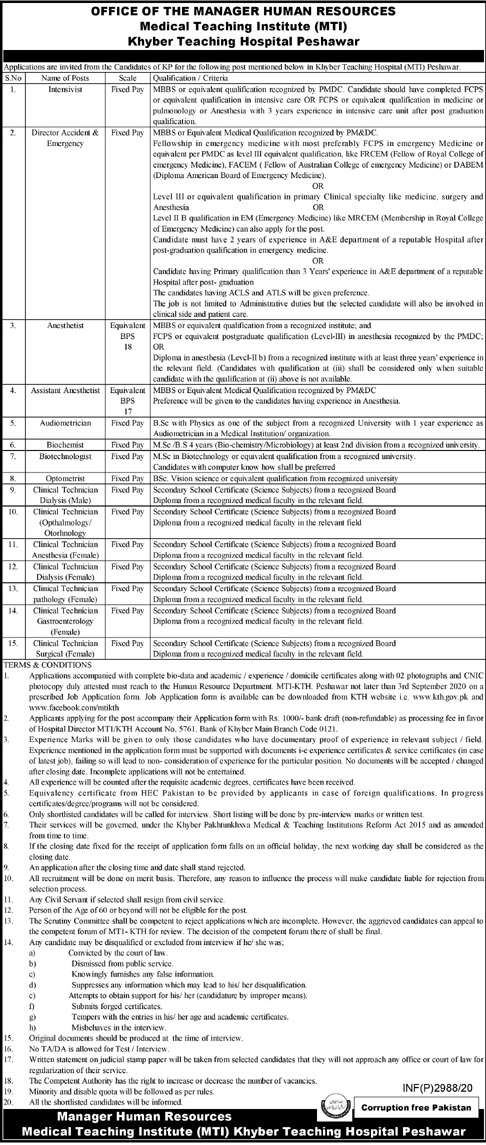 Clinical Technician Surgical Khyber Teaching Hospital Peshawar Jobs August 19, 2020