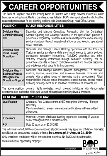 Divisional Head (Central Processing unit) The Bank of Punjab (BOP) Jobs August 12, 2020