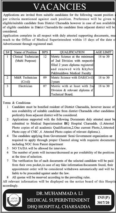 Electrician DHQ Hospital Charsadda Jobs August 22, 2020