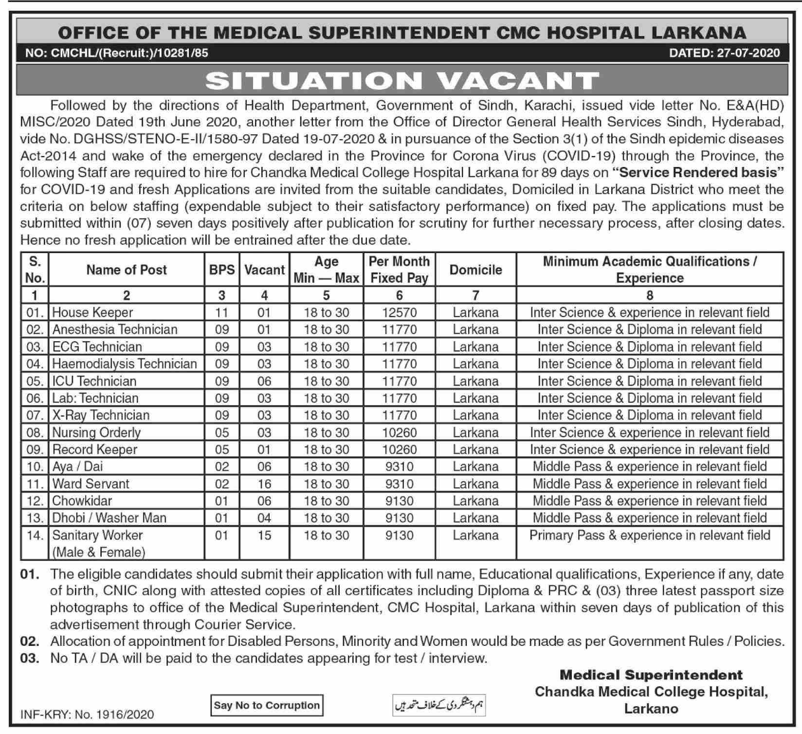 ICU Technician CMC Hospital Larkana Jobs August 04, 2020