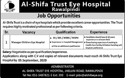 Manager Al-Shifa Trust Eye Hospital Jobs August 24, 2020