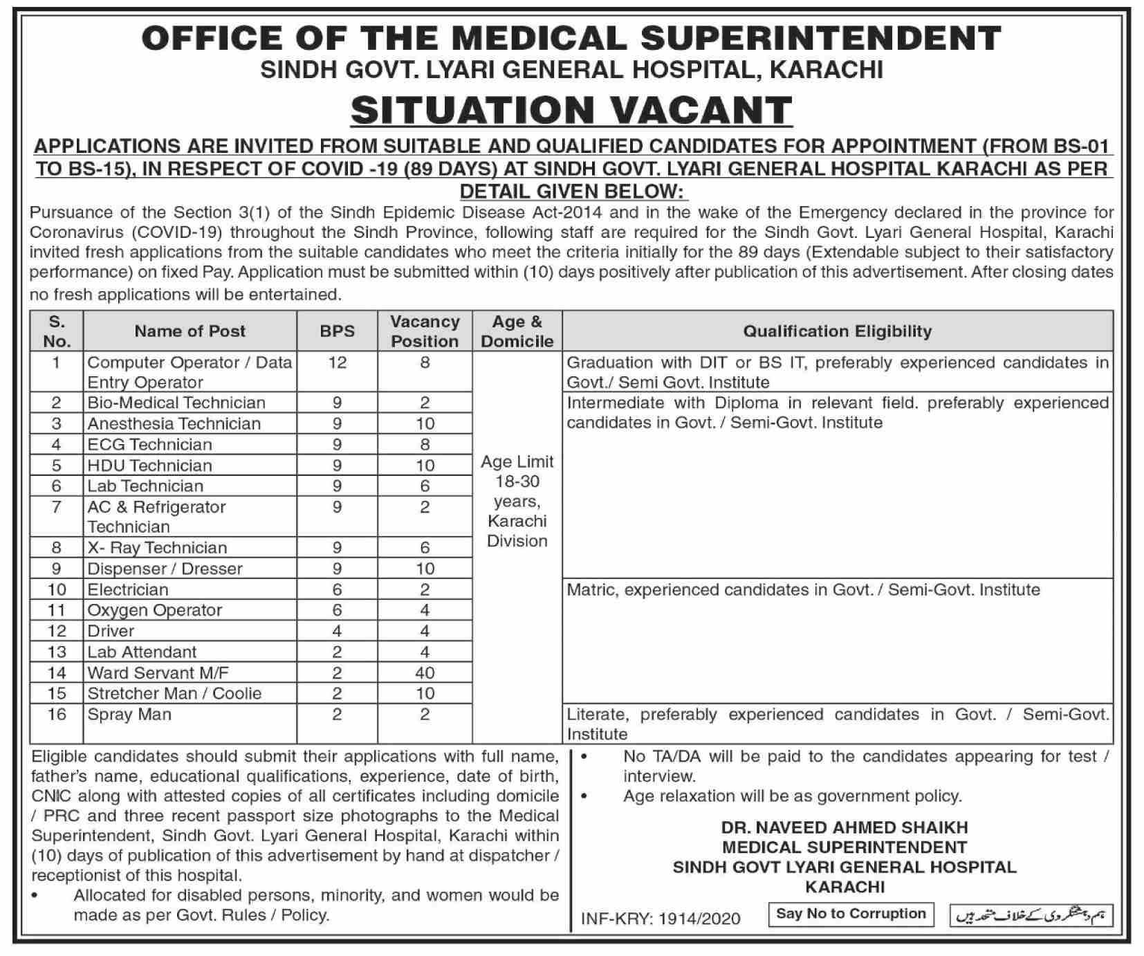 Oxygen Operator Lyari General Hospital Karachi Jobs August 04, 2020