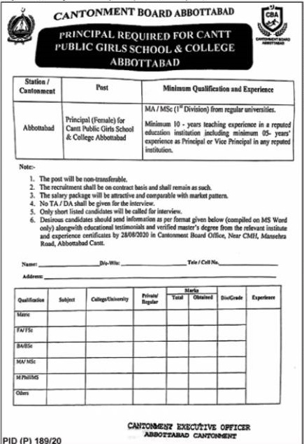 Principal Cantonment Board Abbottabad Jobs August 14, 2020