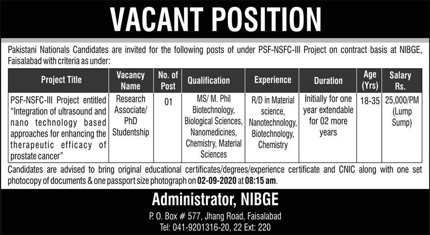 Research Associate National Institute for Biotechnology and Genetic Engineering (NIBGE) Jobs August 17, 2020