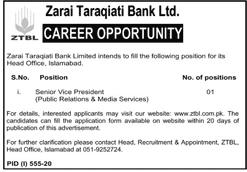Senior Vice President Zarai Taraqiati Bank Limited Jobs August 04, 2020