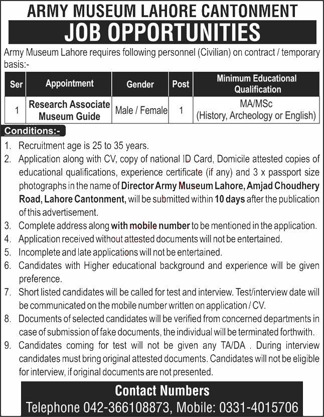 Jobs in Army Museum Lahore for Research Associate 30 September, 2020