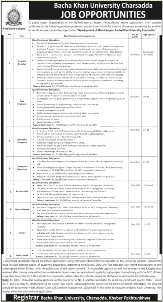 Jobs in Engineer in Bacha Khan University Charsadda BKUC 25 September, 2020