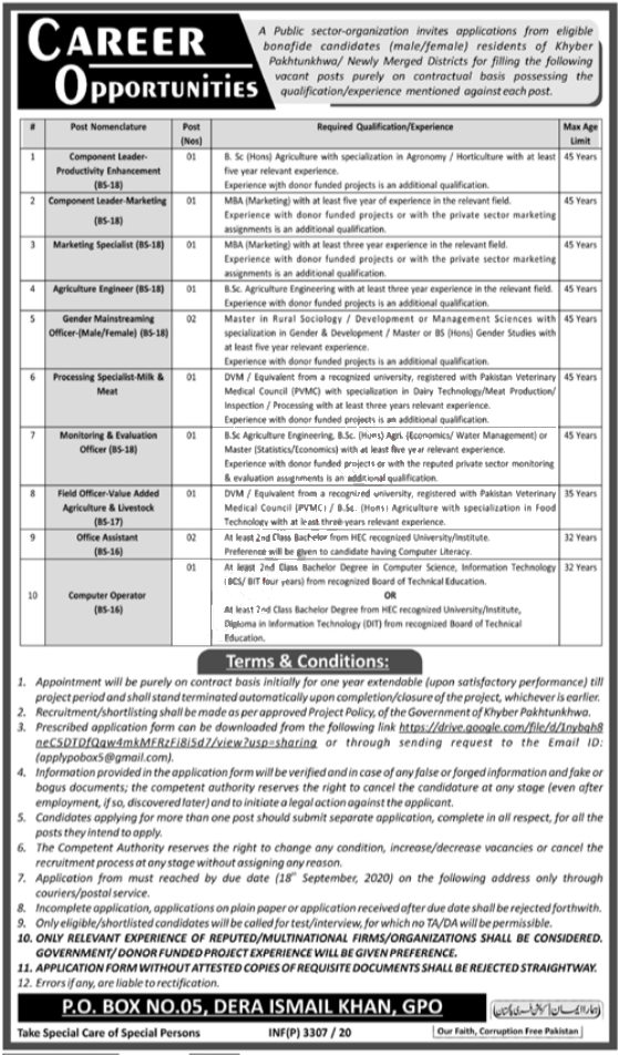 Jobs in Field Officer Livestock & Gender Mainstreaming Officer 12 September, 2020