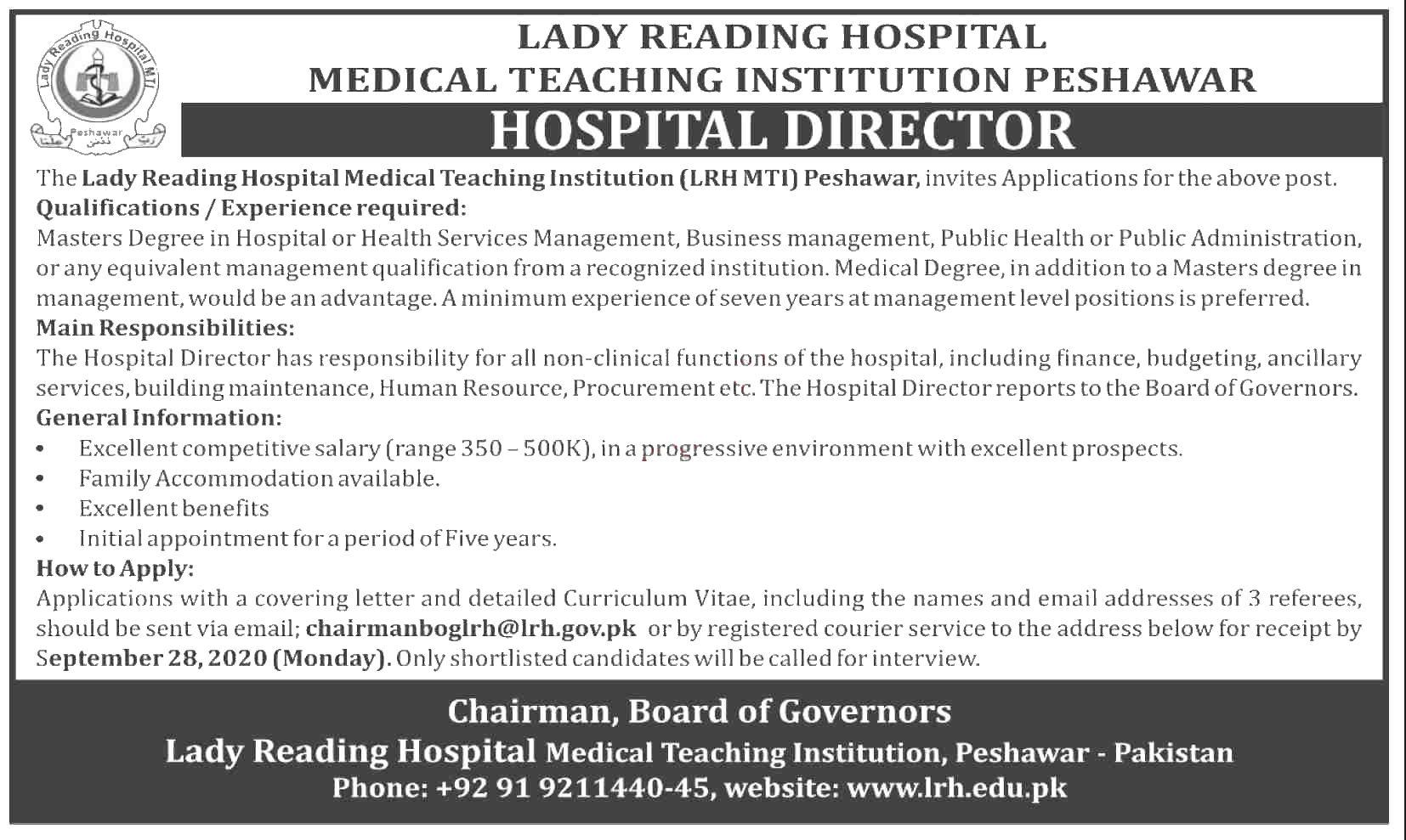 Jobs in Hospital Director in Lady Reading Hospital LRH 11 September, 2020