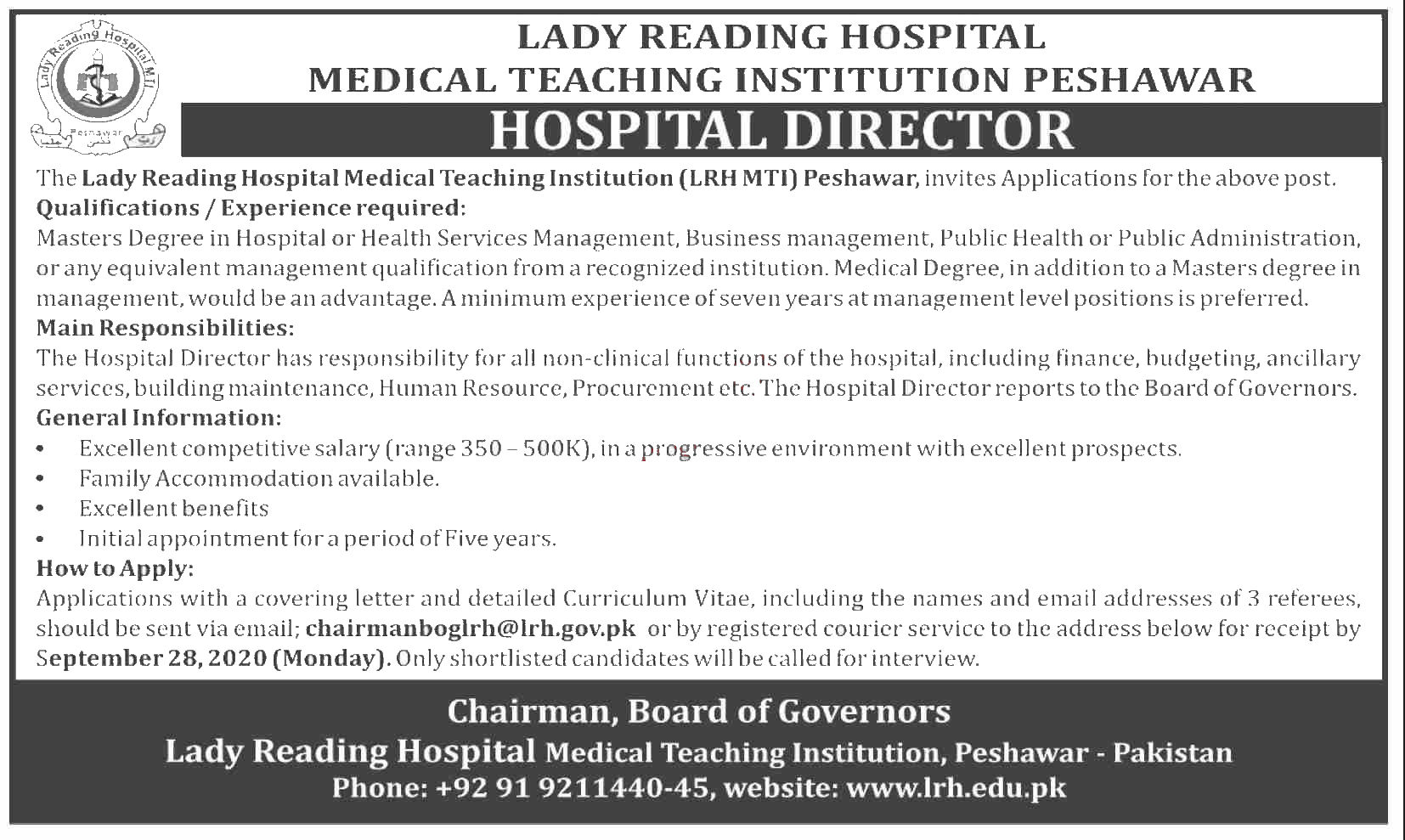 Jobs in Lady Reading Hospital LRH MTI Peshawar 10 September, 2020