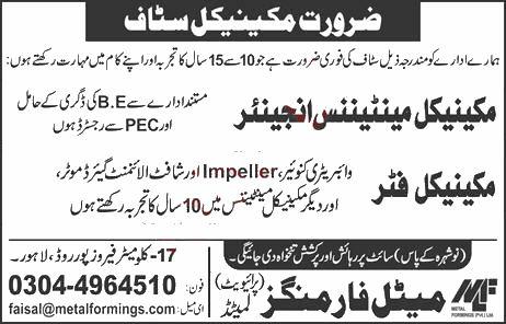 Jobs in Mechanical Maintenance Engineer & Mechanical Fitter 19 September, 2020