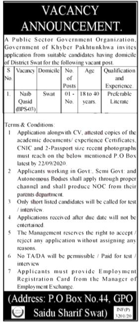 Jobs in Naib Qasid in Saidu Sharif Swat 05 September, 2020